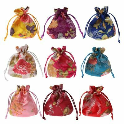 Chinese Classic Flower Embroidery Jewelry Bag Organizer Silk Traditional Pouch