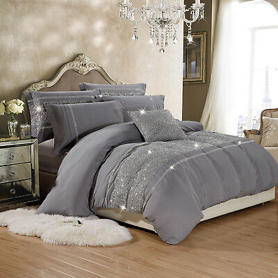 Duvet Cover with Pillowcases Grey Quilt Cover Bedding Sets Double King Size