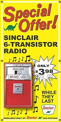 Sinclair Gas Station Transistor Radio Promo Old Sign Remake Banner Art 2' X 4'