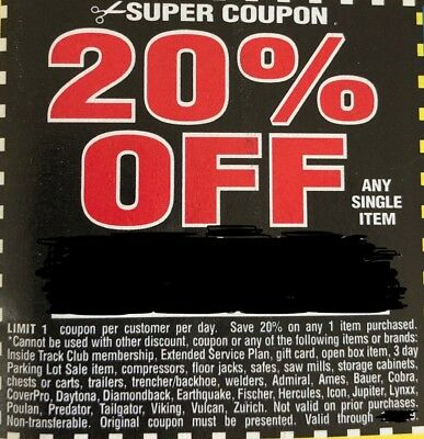 5 20 Off Harbor Freight Any Single Item Super Cpns Pages Exp May