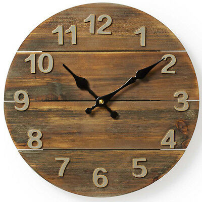 Large Wall Clock Wooden Wood Vintage Antique Distressed Kitchen Home Living Room