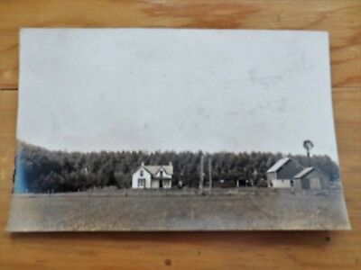 Early 1900s Iowa Farm Barn House Windmill Scene View Real Photo Postcard IA Used