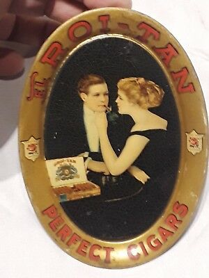 Antique Early  EL ROI-TAN PERFECT CIGARS Advertising Tin Tip Tray
