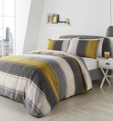 Fusion BETLEY Classic Yellow & Grey Wide Stripes Duvet Cover Set