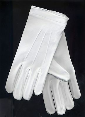 Tuxedo Gloves Parade Dress Uniform Color Guard Stretchable Band Formal White
