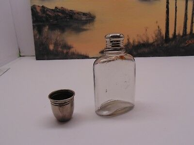Antique Glass Flask Shiny Silver  Cap & Shot
