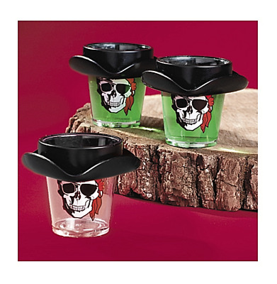 Pirate Hat Skull Shot Glass with Red Bandana Eyepatch Plastic Party Halloween