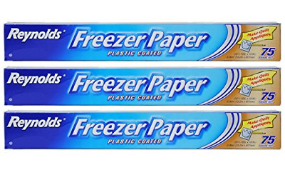Reynolds Freezer Paper Plastic Coated 16 2/3 yds x 18in Roll 75sq ft. Pack of 3