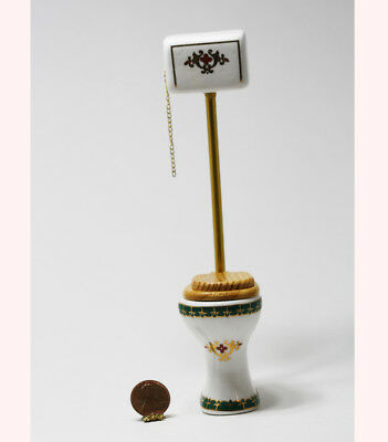 Dollhouse Miniature 1:12 Scale Victorian Green and Gold High Tank Toilet