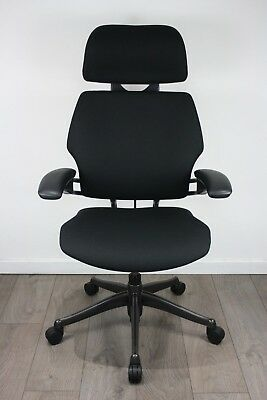 UK DELIVERY | Humanscale Freedom Headrest Chairs | Black Fabric | Graphite