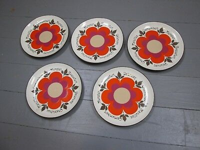 Lot De 5 Assiettes A Fromage Gien Harmonie Vintage Annees 70 Grosse Fleur Orange