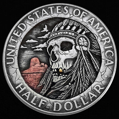 Hobo Nickel Native American Chief Skull Hand Engraved Half Dollar Silver Coin