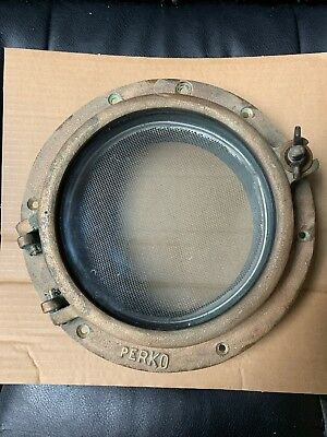 "Vintage US 1 LUG 9""Window Ship BRASS BRONZE 6"" Glass Round Porthole Perko"