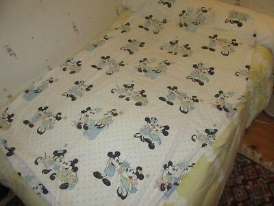 Rare Drap De Lit Disney Cti France Mickey Minnie Piano Vintage Set Of Bed