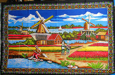 """VINTAGE HOLLAND WINDMILL WALL HANGING 58""""x 39"""" Tulips Clogs Dutch Netherlands"""