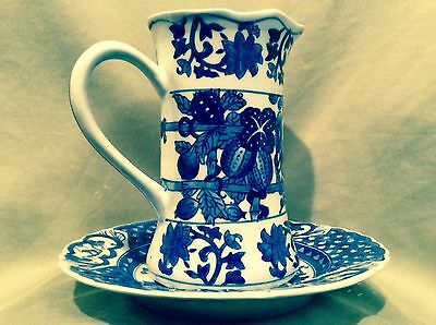 "Plate & Pitcher / Blue & White Porcelain / Antique/ Asian  ""reduced"" Was:$330.00"