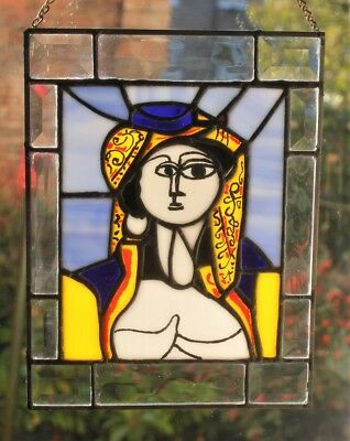 Picasso Jacqueline in Turkish costume Tiffany Stained Glass Panel 29cm x 23cm