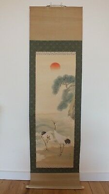 Beautiful Large Japanese Hanging Scroll / Cranes / Showa Era (1926-1989)
