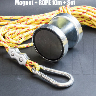 DOUBLE Magnet  METAL DETECTOR Recovery_TREASURE FINDER_COINS_Fishing 25kg ROPE10