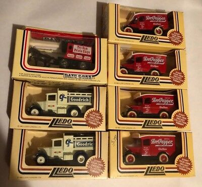 Lot of 7 Vintage Lledo Days Gone Die Cast Cars *Dr. Pepper, Goodrich, Chips* NEW