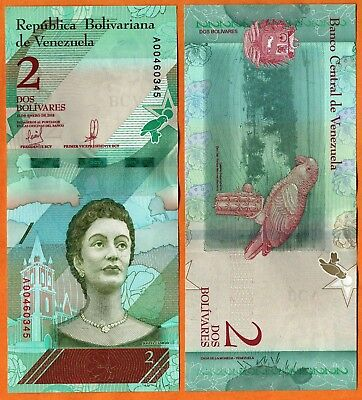 Venezuela 2018 UNC 2 Bolivares Banknote Paper Money Bill  P- NEW