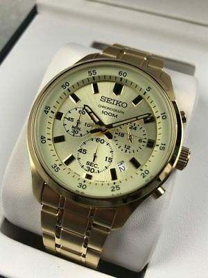 Seiko Gents Chronograph Watch Gold plated 100m water resist SKS592P1 UK  Seller 9963190062