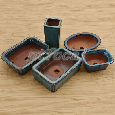 Chinese Style Bonsai Pot Dark Green Glazed Flower Pot Planter Home Decoration
