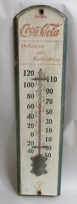 Rare vintage Coca Cola Thermometer wood, glass, metal WORKING!!! 1940-50s