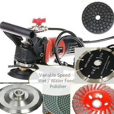 """5"""" Variable Speed Wet Polisher Grinder Lapidary Saw Marble Stone Granite Cement"""
