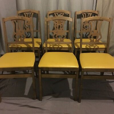 Mid Century stakmore Folding Chairs Set/6