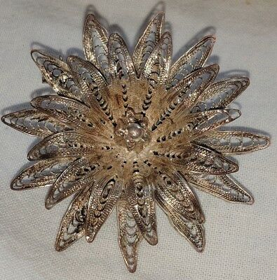 Gorgeous Antique Vintage Silver Filigree Flower Brooch Pin