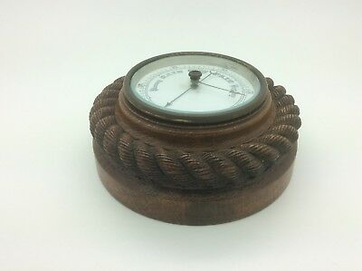 Scarce Antique Wooden Rope Effect Barometer