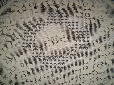 Vintage handmade Crochet  filet lace tablecloth