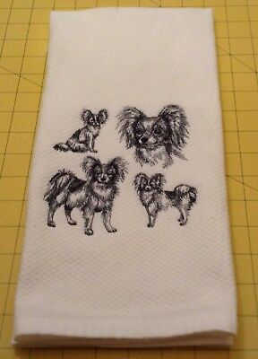 Papillon Collage Sketch Embroidered Wm Sonoma Kitchen Hand Towel