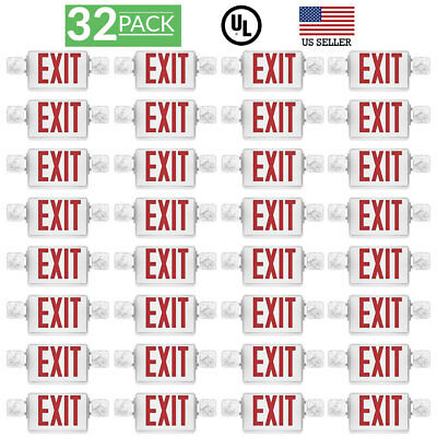 Sunco 32pack EMERGENCY EXIT SIGN Single/Double Face LED w/ 2 Head Lights UL