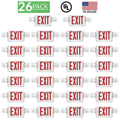 Sunco 26 Pack EMERGENCY EXIT SIGN Single/Double Face LED w/ 2 Head Lights UL
