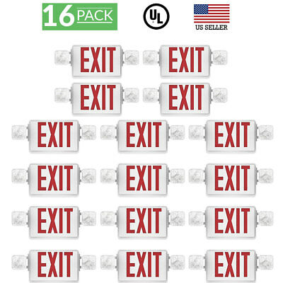 Sunco 16 Pack EMERGENCY EXIT SIGN Single/Double Face LED w/ 2 Head Lights UL