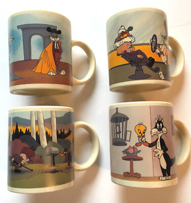 1990's Looney Tunes Bugs Bunny Tweety & Sylvester Animation Mug Set