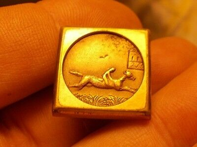 Antique 1880 ACME Horse Track Horse Racing Large Gilt Brass Cufflink