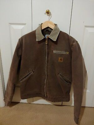 Vintage Carhartt Detroit Work Jacket J97 in Washed Brown size Small