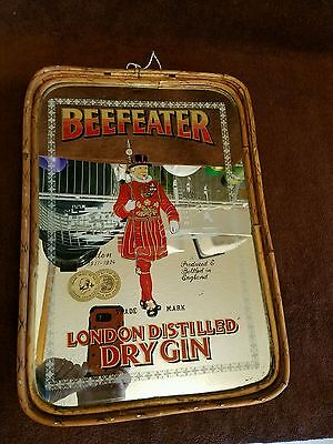 "VTG. MIRRORED"" BEEFEATER""LONDON/DRY GIN""bamboo/reed sides/wood bottom/ADV.TRAY"