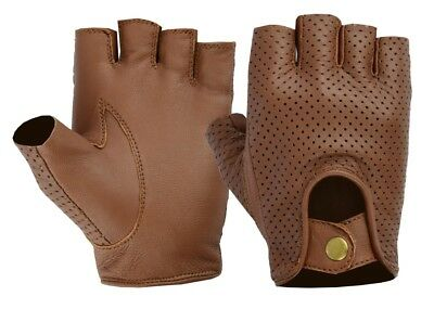 Mens Retro Real Mesh Leather Finger less Driving cycle Gloves Unlined Chauffeur