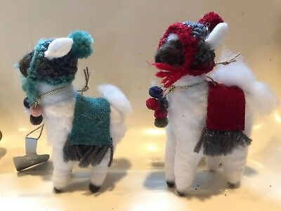 NWT Birchwood Bay Set Of 2 Winter Llama Christmas Ornaments Felt & Cloth Target