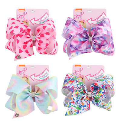 """8"""" Rainbow Color Printed Ribbon Hair Bow With Alligator Clip Girls Kids Bowknot"""