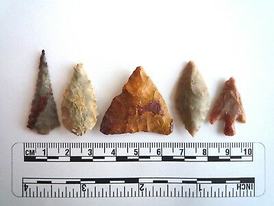 Neolithic Arrowheads x 5, High Quality Selection of Styles - 4000BC - (2413)