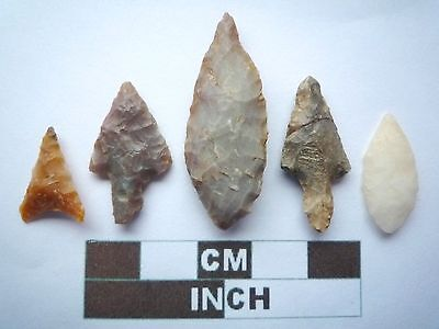 Neolithic Arrowheads x5, High Quality Selection of Styles - 4000BC - (X017)
