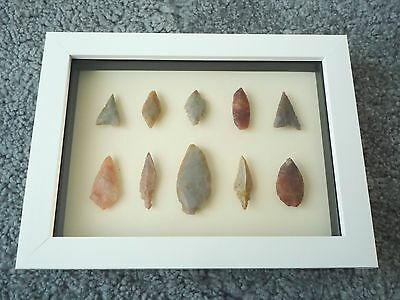 Neolithic Arrowheads in 3D Picture Frame, Authentic Artifacts 4000BC (0444)