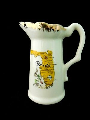 Vintage Cream Pitcher ~ Map of State of Florida~ Rare!