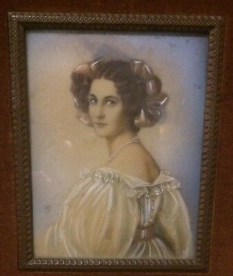 Antique Miniature painting of a beautiful Lady with lavish Pearl necklace