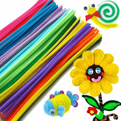 """100PCS Chenille Craft Stems Pipe Cleaners 30cm (12"""")Long,6mm Wide-Kids Craft DIY"""